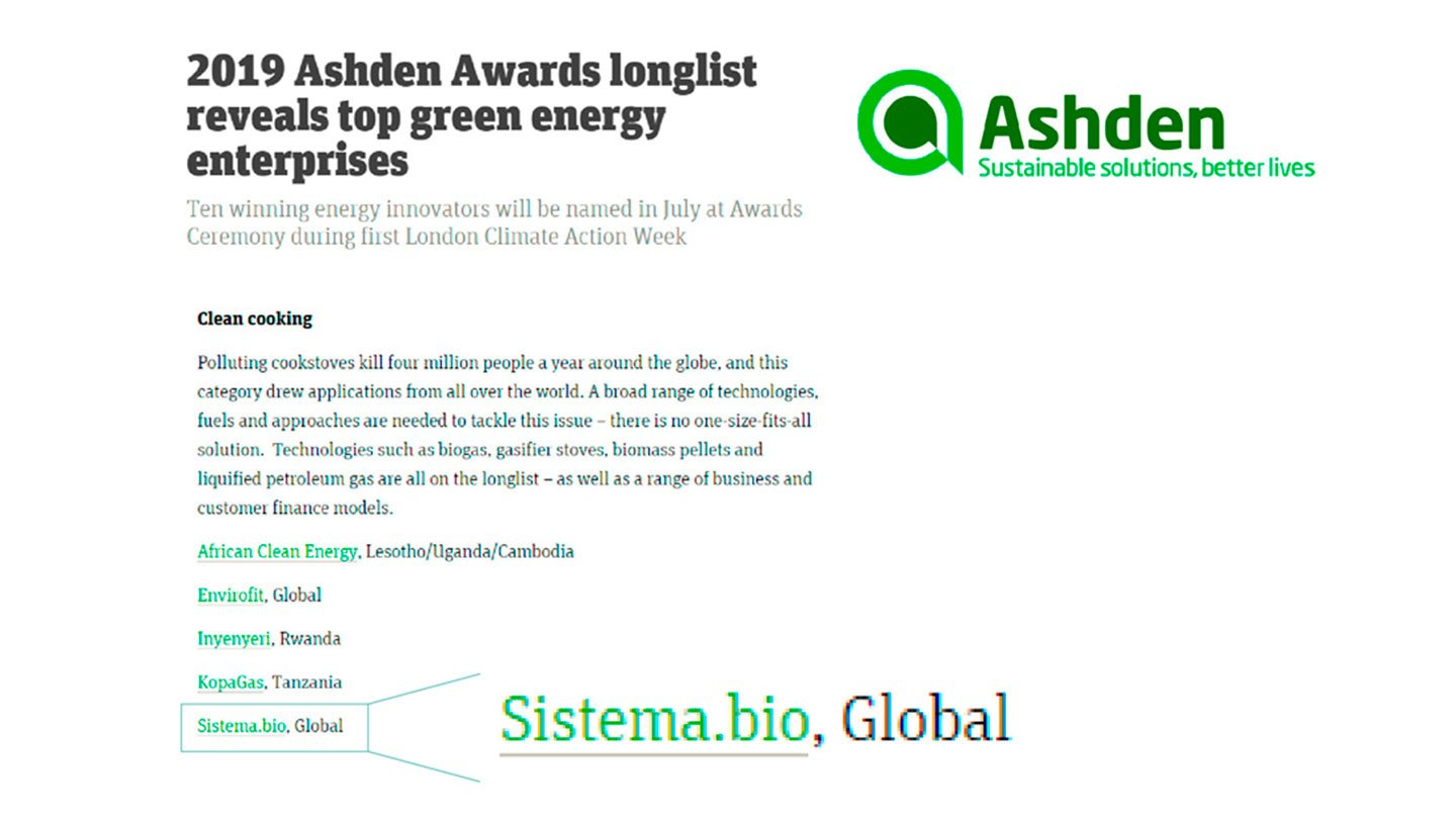 We're finalists at the Ashden Awards 2019